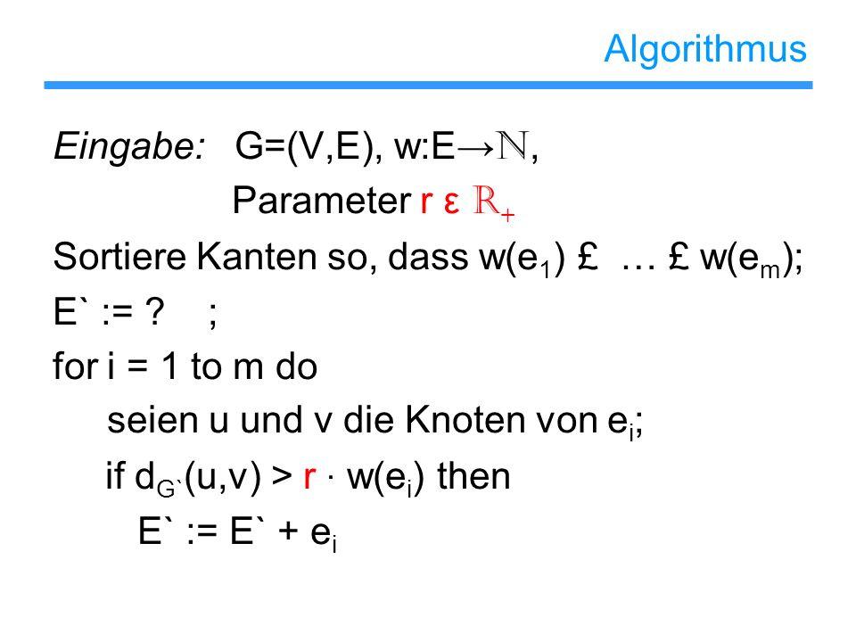 Algorithmus Eingabe: G=(V,E), w:E N, Parameter r ε R + Sortiere Kanten so, dass w(e 1 ) £ … £ w(e m ); E` := ? ; for i = 1 to m do seien u und v die K