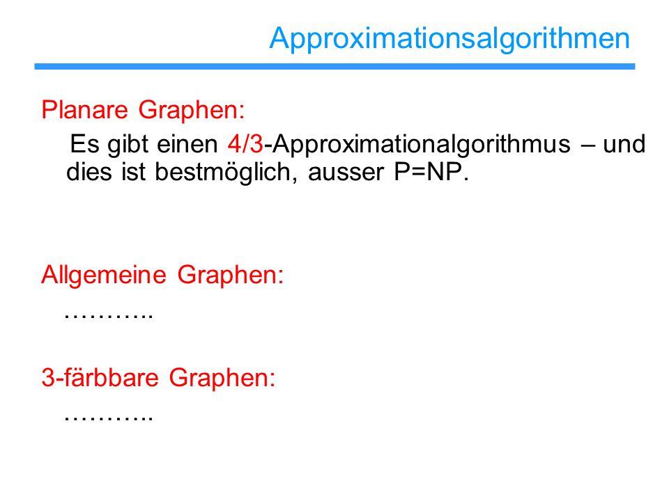 Approximationsalgorithmen Planare Graphen: Es gibt einen 4/3-Approximationalgorithmus – und dies ist bestmöglich, ausser P=NP. Allgemeine Graphen: ………