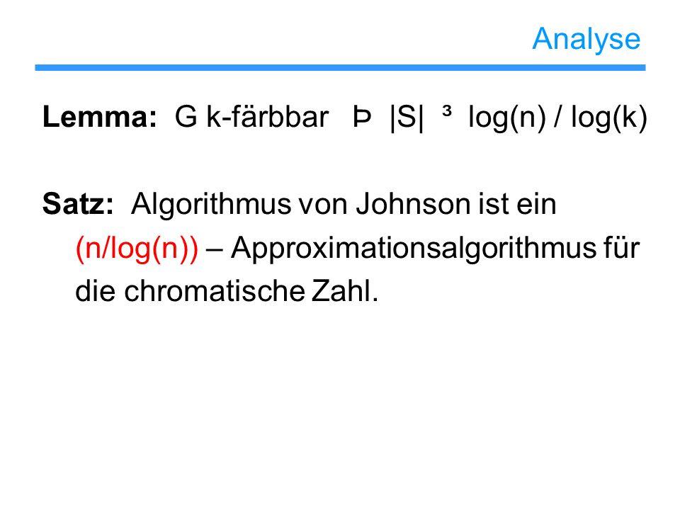 Analyse Lemma: G k-färbbar Þ |S| ³ log(n) / log(k) Satz: Algorithmus von Johnson ist ein (n/log(n)) – Approximationsalgorithmus für die chromatische Z