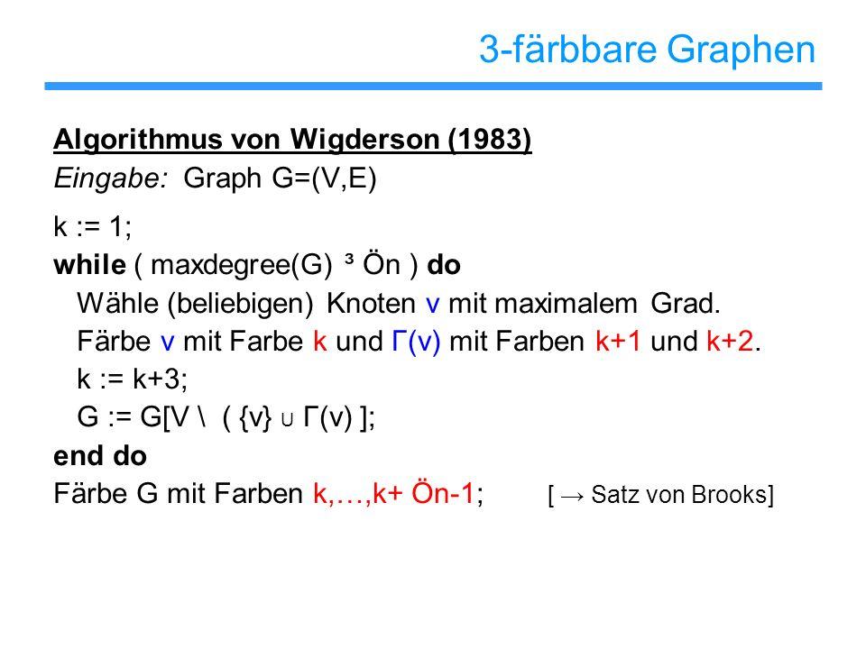 3-färbbare Graphen Algorithmus von Wigderson (1983) Eingabe: Graph G=(V,E) k := 1; while ( maxdegree(G) ³ Ön ) do Wähle (beliebigen) Knoten v mit maxi