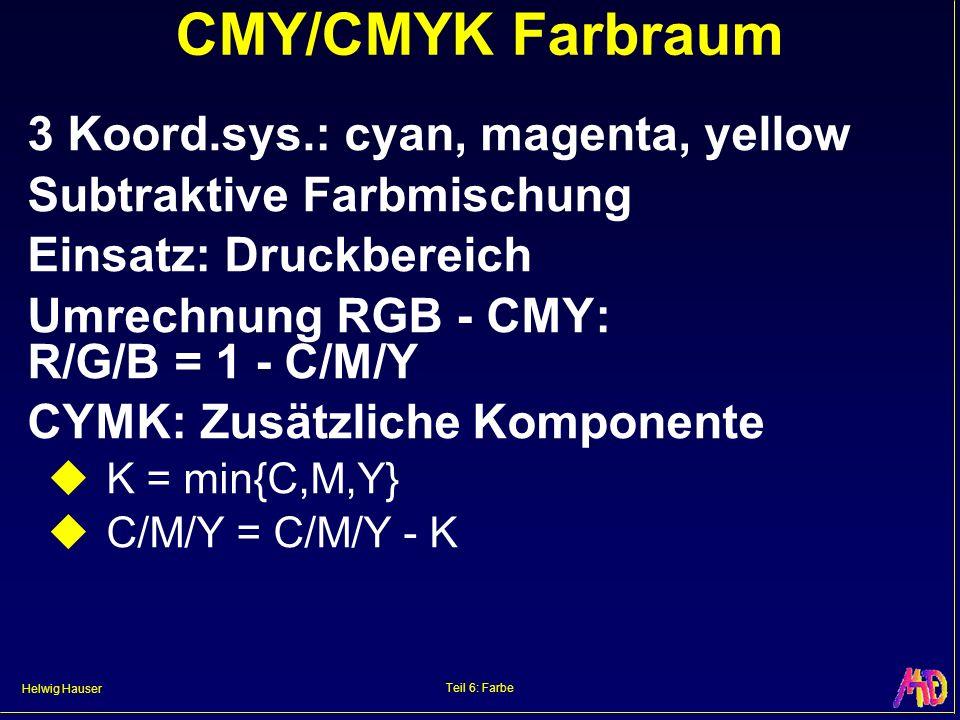 Helwig Hauser Teil 6: Farbe CMY/CMYK Farbraum 3 Koord.sys.: cyan, magenta, yellow Subtraktive Farbmischung Einsatz: Druckbereich Umrechnung RGB - CMY:
