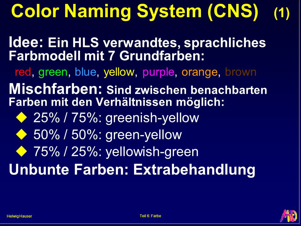 Helwig Hauser Teil 6: Farbe Color Naming System (CNS) (1) Idee: Ein HLS verwandtes, sprachliches Farbmodell mit 7 Grundfarben: red, green, blue, yello