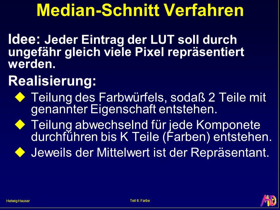Helwig Hauser Teil 6: Farbe Median-Schnitt Verfahren Idee: Jeder Eintrag der LUT soll durch ungefähr gleich viele Pixel repräsentiert werden. Realisie