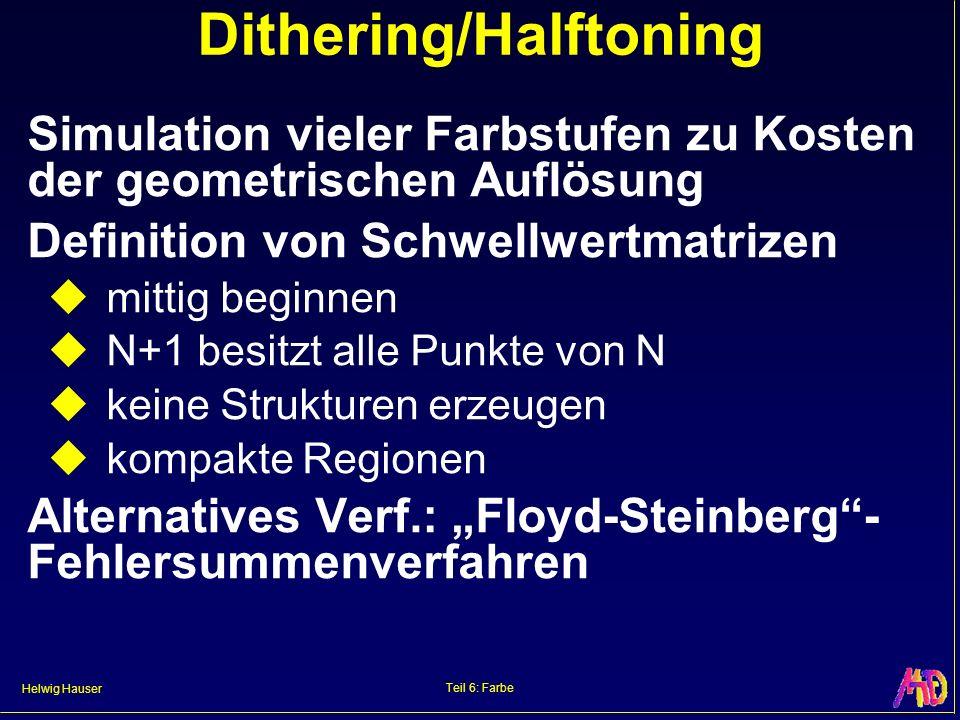 Helwig Hauser Teil 6: Farbe Dithering/Halftoning Simulation vieler Farbstufen zu Kosten der geometrischen Auflösung Definition von Schwellwertmatrizen