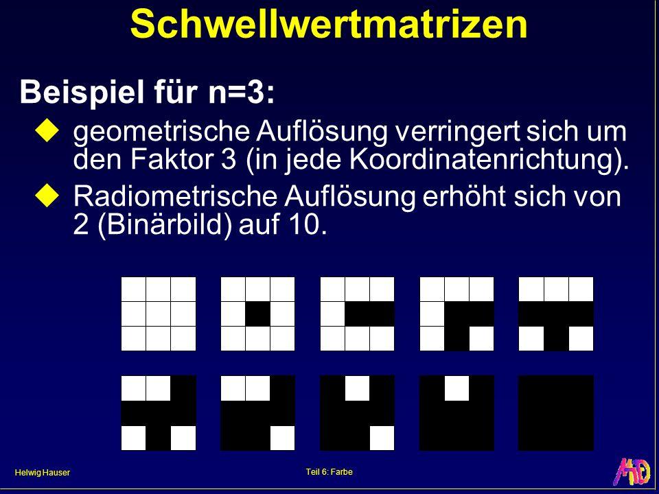Helwig Hauser Teil 6: Farbe Schwellwertmatrizen Beispiel für n=3: geometrische Auflösung verringert sich um den Faktor 3 (in jede Koordinatenrichtung)