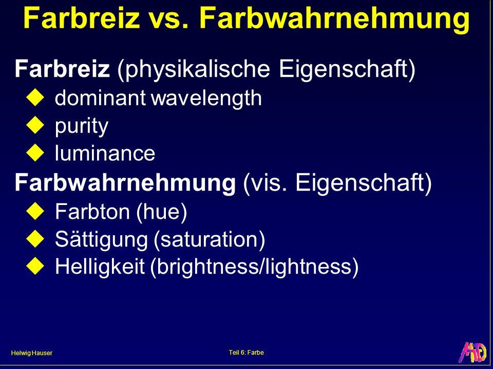 Helwig Hauser Teil 6: Farbe Farbreiz vs. Farbwahrnehmung Farbreiz (physikalische Eigenschaft) dominant wavelength purity luminance Farbwahrnehmung (vi