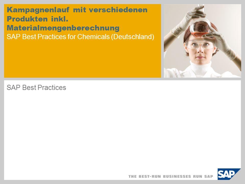 Kampagnenlauf mit verschiedenen Produkten inkl. Materialmengenberechnung SAP Best Practices for Chemicals (Deutschland) SAP Best Practices