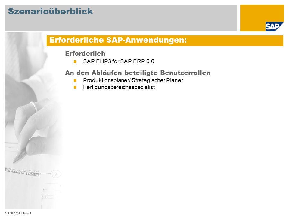 © SAP 2008 / Seite 3 Erforderlich SAP EHP3 for SAP ERP 6.0 An den Abläufen beteiligte Benutzerrollen Produktionsplaner/ Strategischer Planer Fertigung