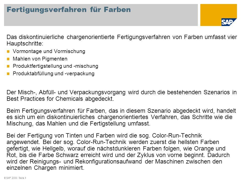 © SAP 2008 / Seite 5 Lösungsmittel (Qualität A) ROH CH-1430 Werk 1000 Diskontinuierliche Produktion: Abfüllen, erhitzen, mahlen, dispergieren Additiv BG99 YQAI CH-1020 Pigment, gelb ROH CH-1441 Beschreibung Materialart Materialnr.