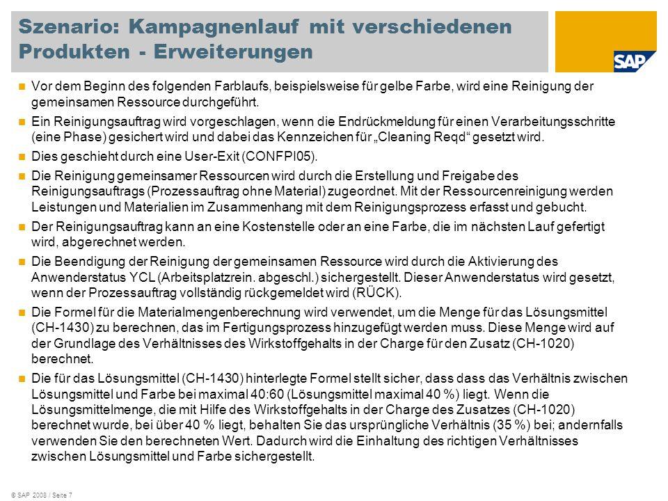 © SAP 2008 / Seite 8 Ablaufdiagramm Produktionsplaner Strategischer Planer Fertigungsbereichsspezialist Geplante Produktions- mengen eingeben Dispositions- lauf Bedarfs-/Bestandsliste auswerten Kapazität s- überlastu ng Sammelum- setzung von Planaufträgen Dispositions- lauf Bedarfs-/Bestandsliste auswerten Kapazität s- überlastu ng Umgesetzte Prozessaufträge ändern Fertigung nach Plan ausführen Beendigung eines Laufs bestätigen- endgültige Bestätigung Reinigun g erforderli ch Fertigung für Farblauf mit der gleichen Farbe ausführen nach Plan Reiniguns- /Umstellungsauftrag anlegen Reinigungs- /Umstellungs- aktivitäten durchführen Fertigung für Farblauf mit neuer Farbe ausführen nach Plan Ja Nein Ja Nein Ja Nein