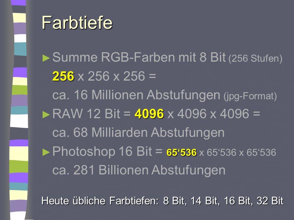 Farbtiefe Summe RGB-Farben mit 8 Bit (256 Stufen) 256 256 x 256 x 256 = ca. 16 Millionen Abstufungen (jpg-Format) 4096 RAW 12 Bit = 4096 x 4096 x 4096