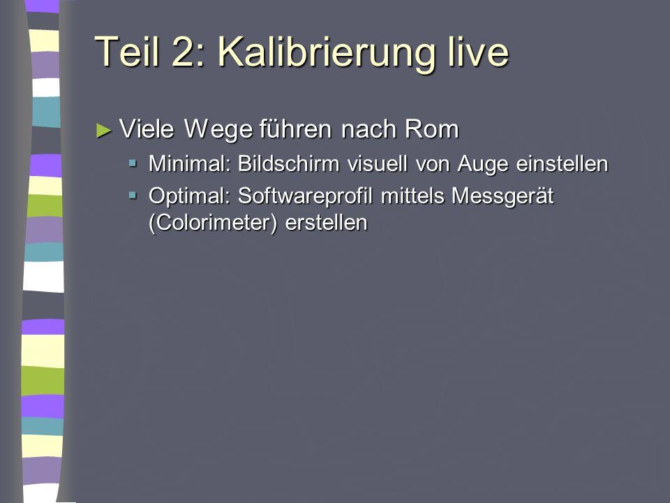 Teil 2: Kalibrierung live Viele Wege führen nach Rom Viele Wege führen nach Rom Minimal: Bildschirm visuell von Auge einstellen Minimal: Bildschirm vi