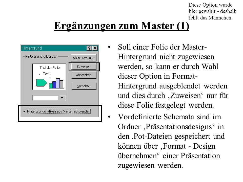 Ergänzungen zum Master (1) Soll einer Folie der Master- Hintergrund nicht zugewiesen werden, so kann er durch Wahl dieser Option in Format- Hintergrund ausgeblendet werden und dies durch Zuweisen nur für diese Folie festgelegt werden.