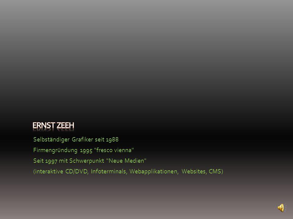 Selbständiger Grafiker seit 1988 Firmengründung 1995 fresco vienna Seit 1997 mit Schwerpunkt Neue Medien (interaktive CD/DVD, Infoterminals, Webapplikationen, Websites, CMS)