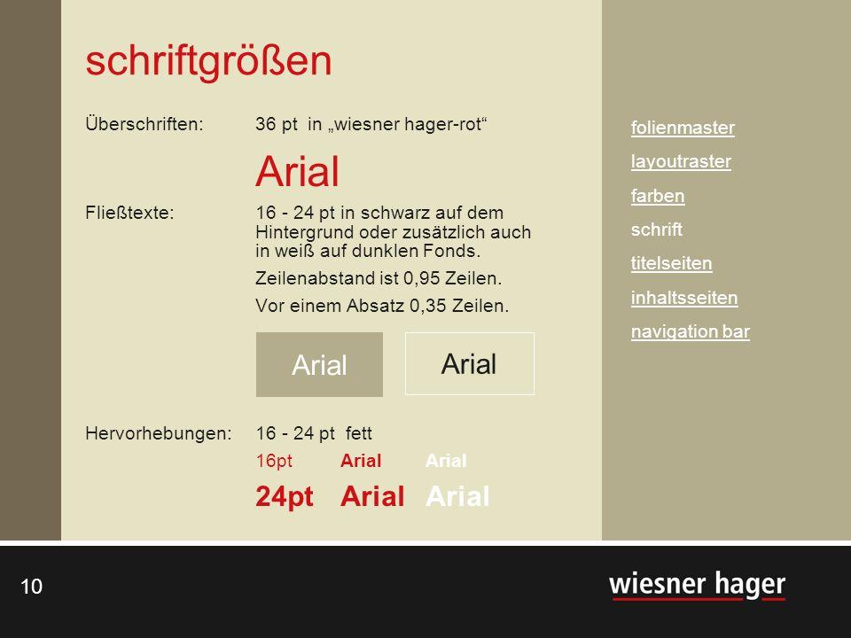 10 Überschriften: 36 pt in wiesner hager-rot Arial Fließtexte: 16 - 24 pt in schwarz auf dem Hintergrund oder zusätzlich auch in weiß auf dunklen Fond