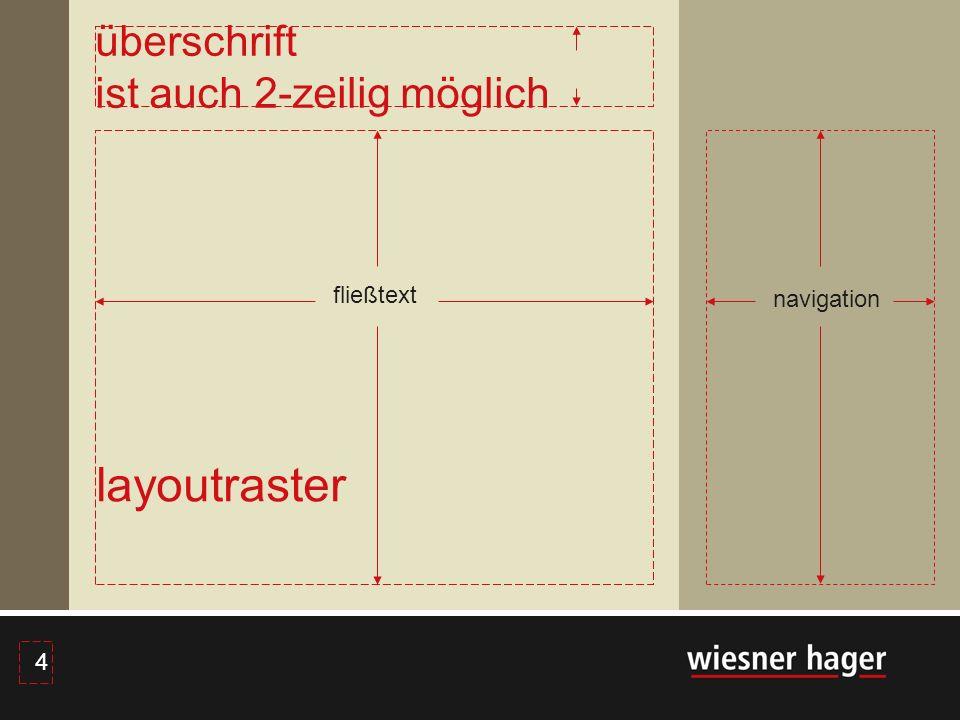 4 4 fließtext navigation layoutraster überschrift ist auch 2-zeilig möglich