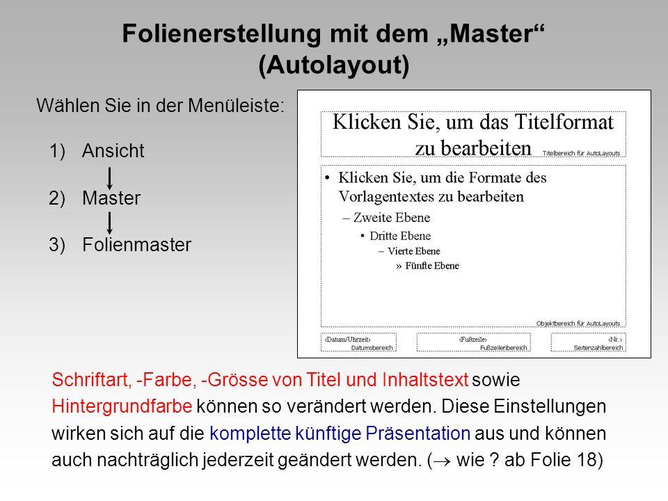 Folienerstellung mit dem Master (Autolayout) 1)Ansicht 2)Master 3)Folienmaster Wählen Sie in der Menüleiste: Schriftart, -Farbe, -Grösse von Titel und Inhaltstext sowie Hintergrundfarbe können so verändert werden.