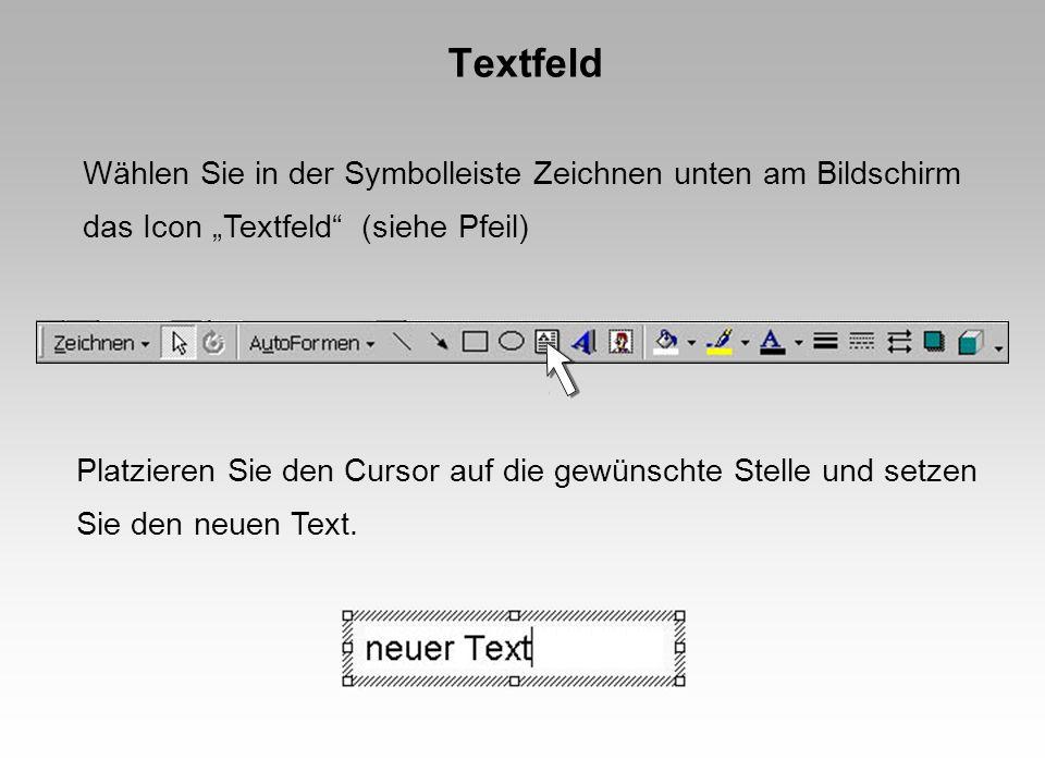 Textfeld Wählen Sie in der Symbolleiste Zeichnen unten am Bildschirm das Icon Textfeld (siehe Pfeil) Platzieren Sie den Cursor auf die gewünschte Stelle und setzen Sie den neuen Text.