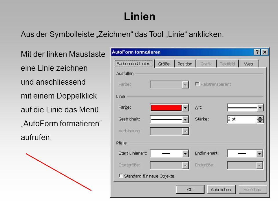 Linien Aus der Symbolleiste Zeichnen das Tool Linie anklicken: Mit der linken Maustaste eine Linie zeichnen und anschliessend mit einem Doppelklick auf die Linie das Menü AutoForm formatieren aufrufen.