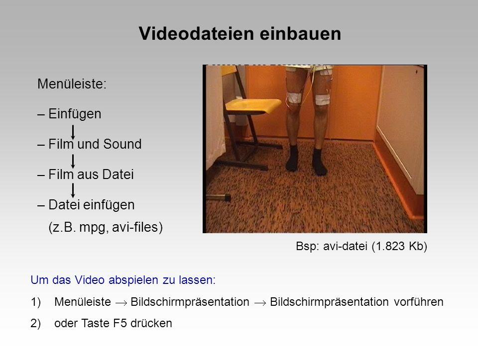 Videodateien einbauen Menüleiste: – Einfügen – Film und Sound – Film aus Datei – Datei einfügen (z.B. mpg, avi-files) Um das Video abspielen zu lassen