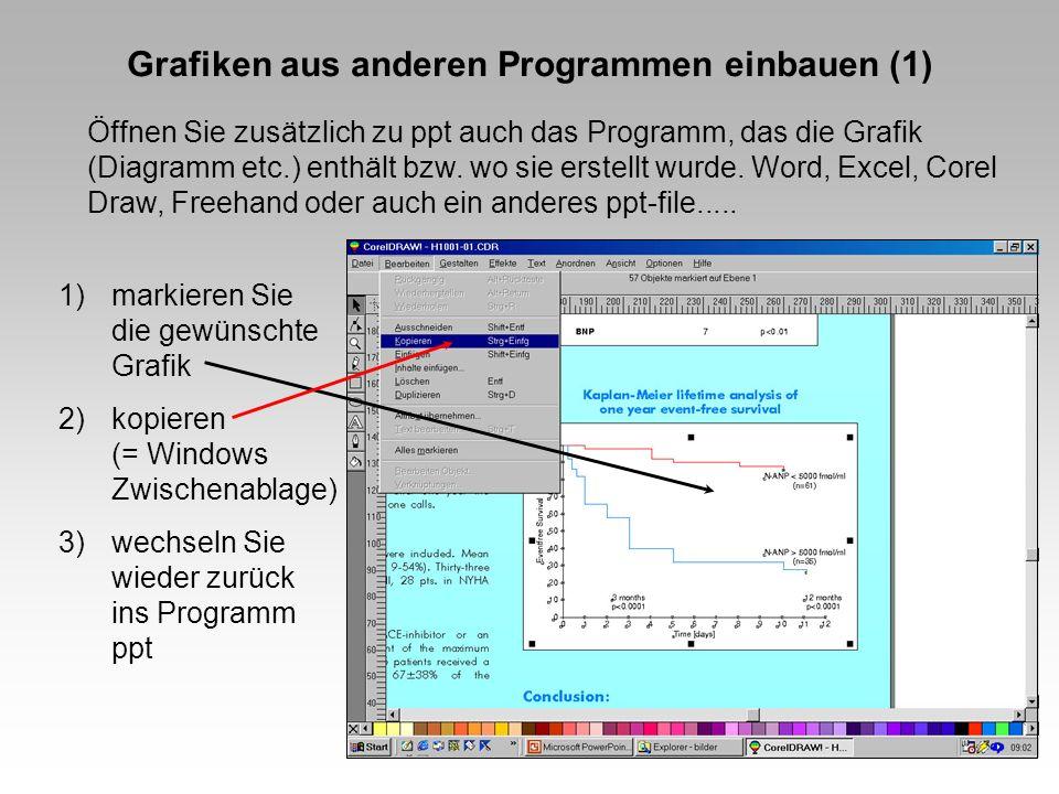 Grafiken aus anderen Programmen einbauen (1) Öffnen Sie zusätzlich zu ppt auch das Programm, das die Grafik (Diagramm etc.) enthält bzw.
