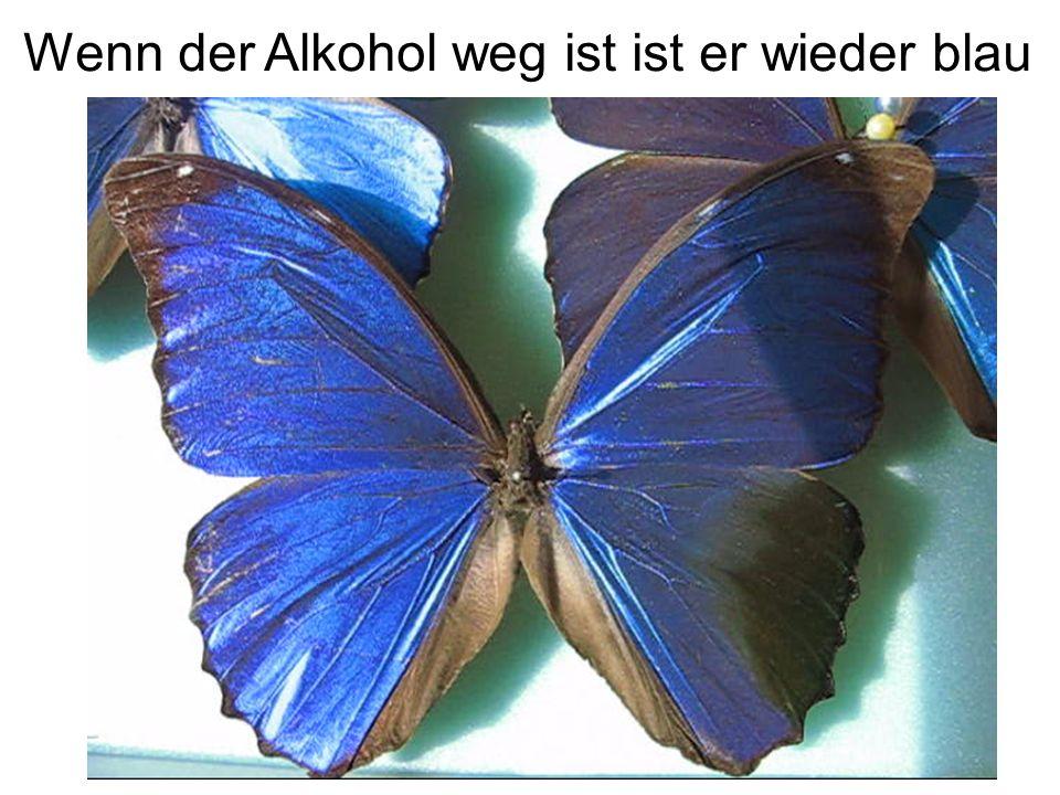 Wenn der Alkohol weg ist ist er wieder blau