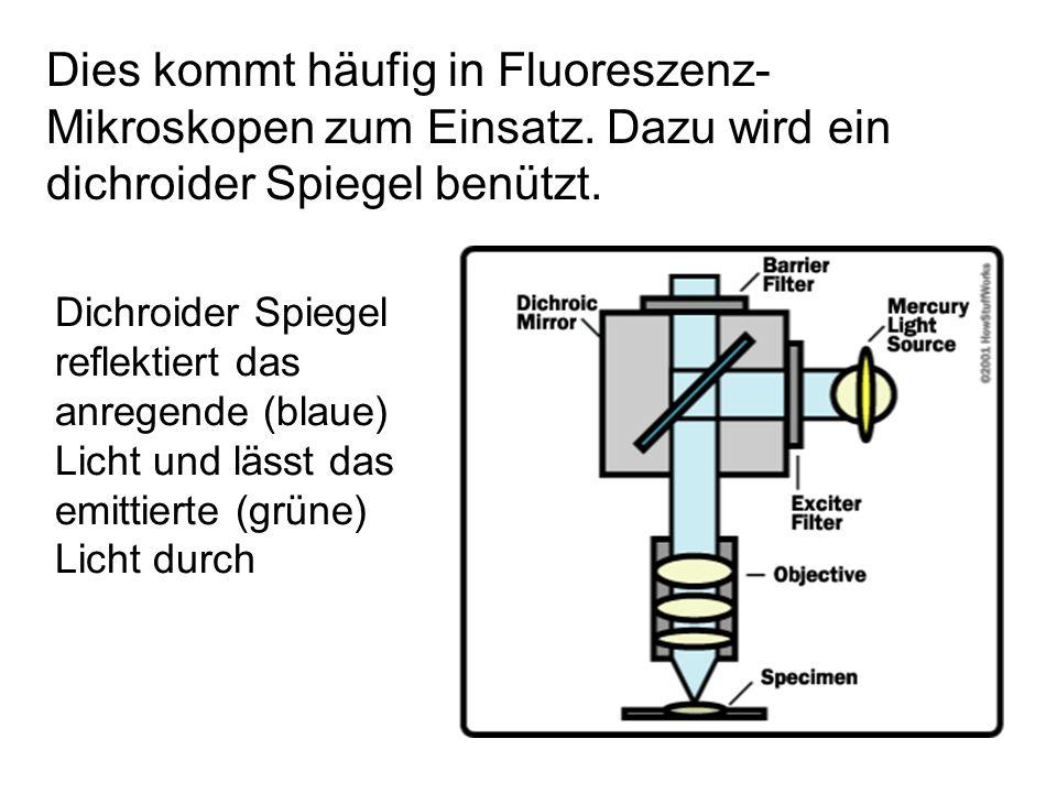 Dichroider Spiegel reflektiert das anregende (blaue) Licht und lässt das emittierte (grüne) Licht durch Dies kommt häufig in Fluoreszenz- Mikroskopen