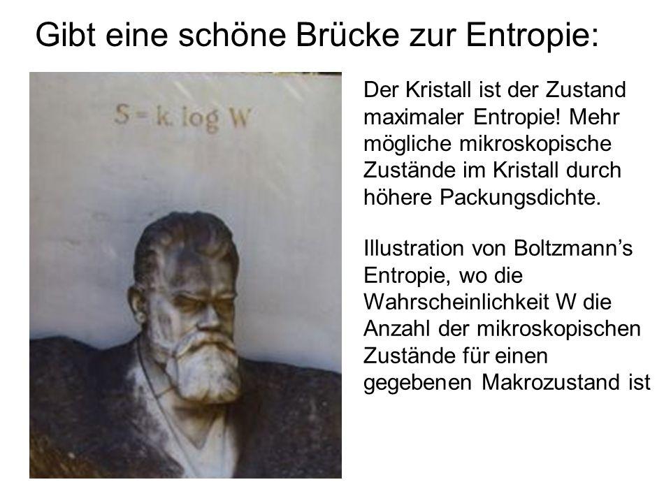 Gibt eine schöne Brücke zur Entropie: Illustration von Boltzmanns Entropie, wo die Wahrscheinlichkeit W die Anzahl der mikroskopischen Zustände für ei