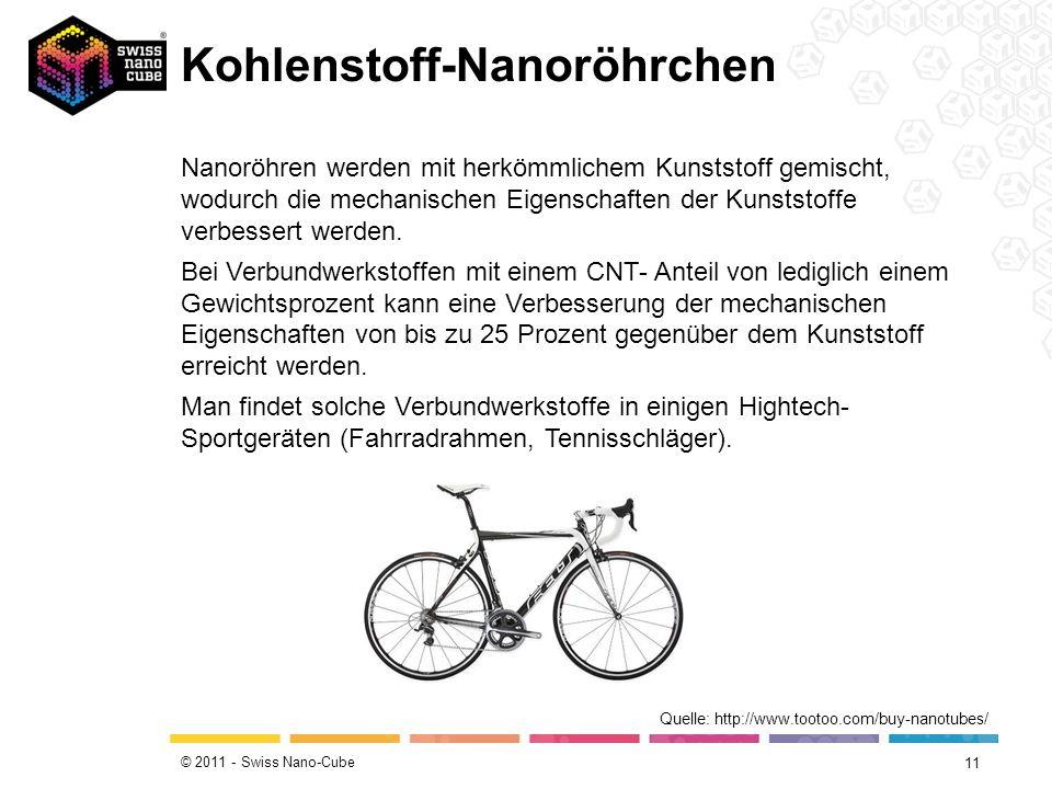 © 2011 - Swiss Nano-Cube Kohlenstoff-Nanoröhrchen 11 Quelle: http://www.tootoo.com/buy-nanotubes/ Nanoröhren werden mit herkömmlichem Kunststoff gemis