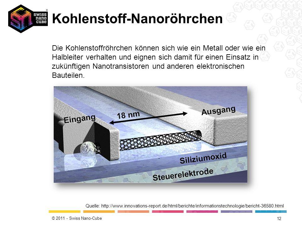 © 2011 - Swiss Nano-Cube Kohlenstoff-Nanoröhrchen 12 Quelle: http://www.innovations-report.de/html/berichte/informationstechnologie/bericht-36580.html