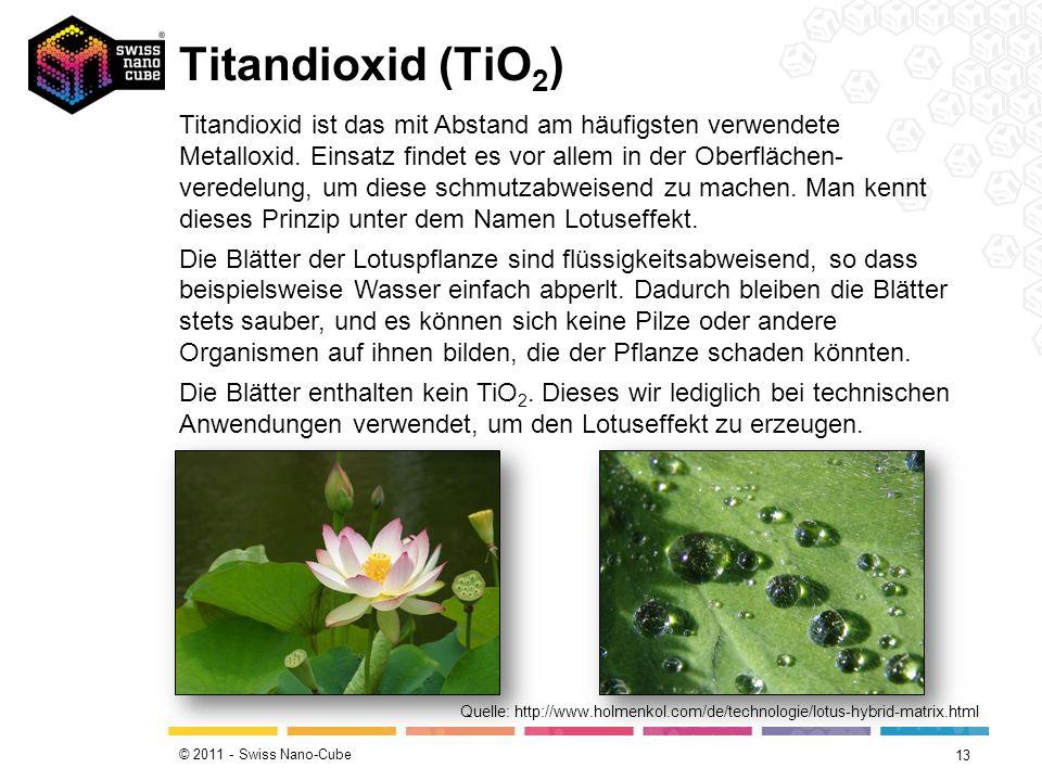 © 2011 - Swiss Nano-Cube Titandioxid (TiO 2 ) 13 Quelle: http://www.holmenkol.com/de/technologie/lotus-hybrid-matrix.html Titandioxid ist das mit Abst