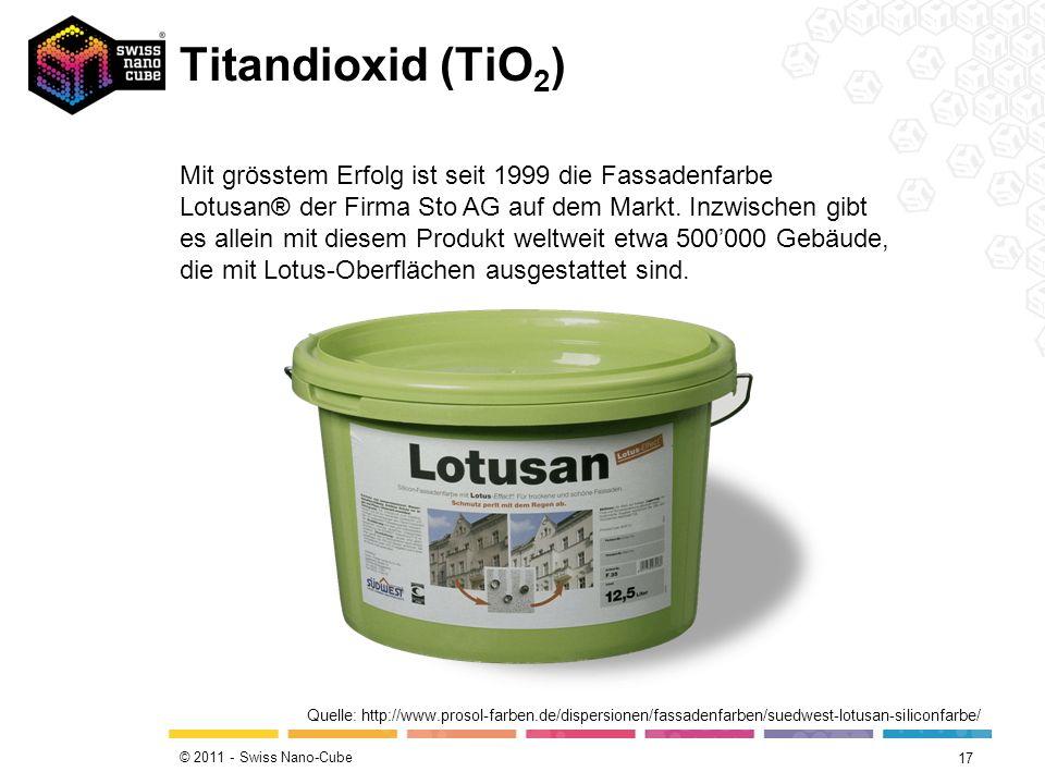 © 2011 - Swiss Nano-Cube Titandioxid (TiO 2 ) 17 Quelle: http://www.prosol-farben.de/dispersionen/fassadenfarben/suedwest-lotusan-siliconfarbe/ Mit gr