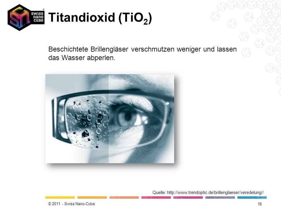 © 2011 - Swiss Nano-Cube Titandioxid (TiO 2 ) 18 Quelle: http://www.trendoptic.de/brillenglaeser/veredelung// Beschichtete Brillengläser verschmutzen