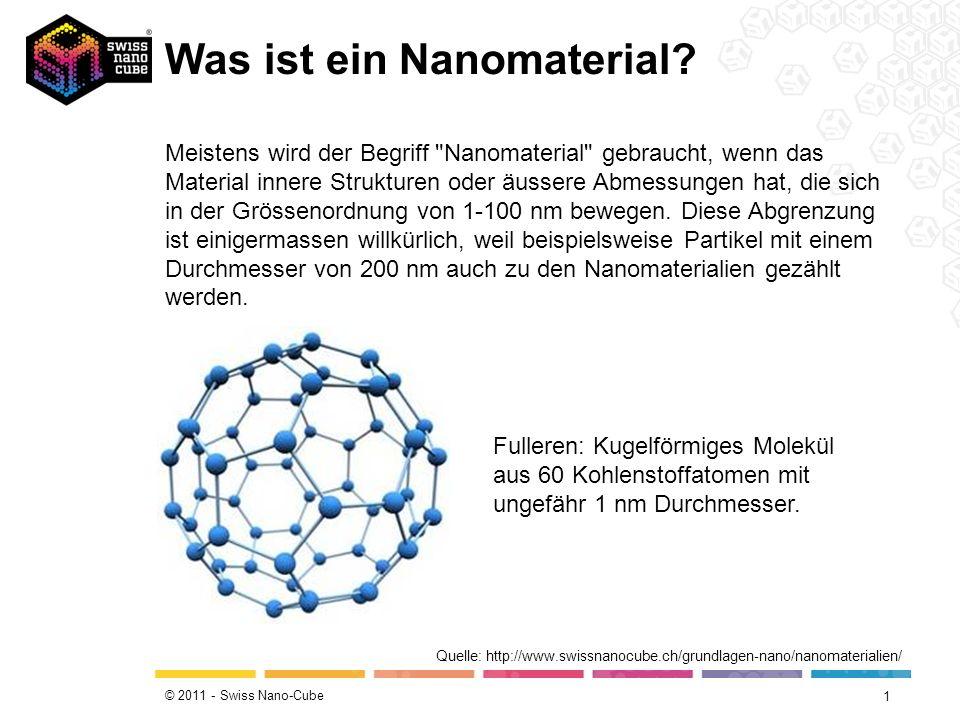 © 2011 - Swiss Nano-Cube Was ist ein Nanomaterial? 1 Quelle: http://www.swissnanocube.ch/grundlagen-nano/nanomaterialien/ Meistens wird der Begriff