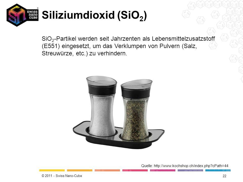 © 2011 - Swiss Nano-Cube Siliziumdioxid (SiO 2 ) 22 Quelle: http://www.kochshop.ch/index.php?cPath=44 SiO 2 -Partikel werden seit Jahrzenten als Leben