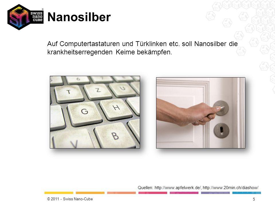© 2011 - Swiss Nano-Cube Nanosilber 5 Quellen: http://www.apfelwerk.de/, http://www.20min.ch/diashow/ Auf Computertastaturen und Türklinken etc. soll