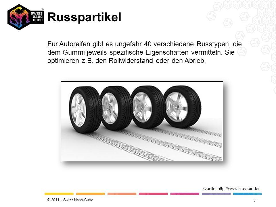 © 2011 - Swiss Nano-Cube Russpartikel 7 Quelle: http://www.stayfair.de/ Für Autoreifen gibt es ungefähr 40 verschiedene Russtypen, die dem Gummi jewei