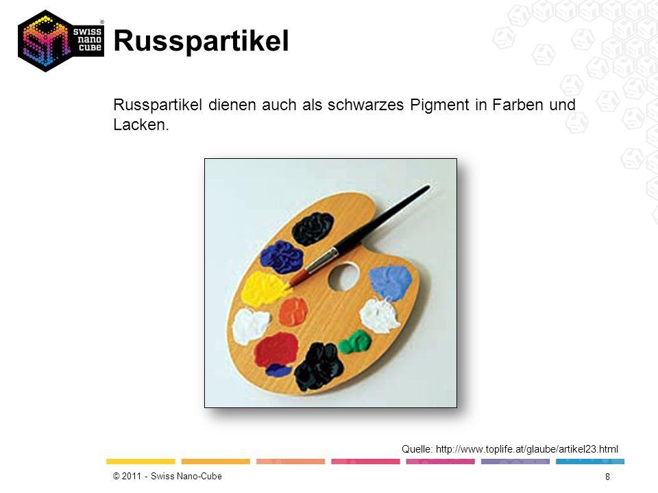 © 2011 - Swiss Nano-Cube Russpartikel 8 Quelle: http://www.toplife.at/glaube/artikel23.html Russpartikel dienen auch als schwarzes Pigment in Farben u
