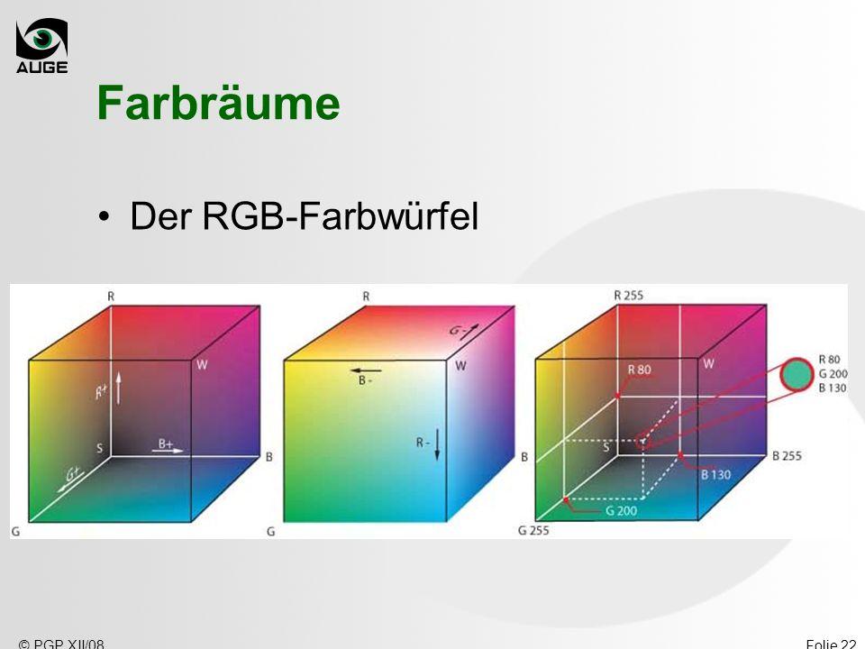 © PGP XII/08Folie 22 Farbräume Der RGB-Farbwürfel