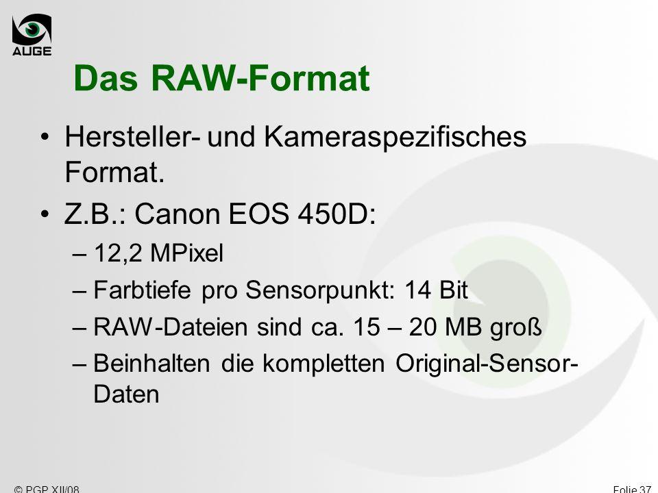 © PGP XII/08Folie 37 Das RAW-Format Hersteller- und Kameraspezifisches Format. Z.B.: Canon EOS 450D: –12,2 MPixel –Farbtiefe pro Sensorpunkt: 14 Bit –