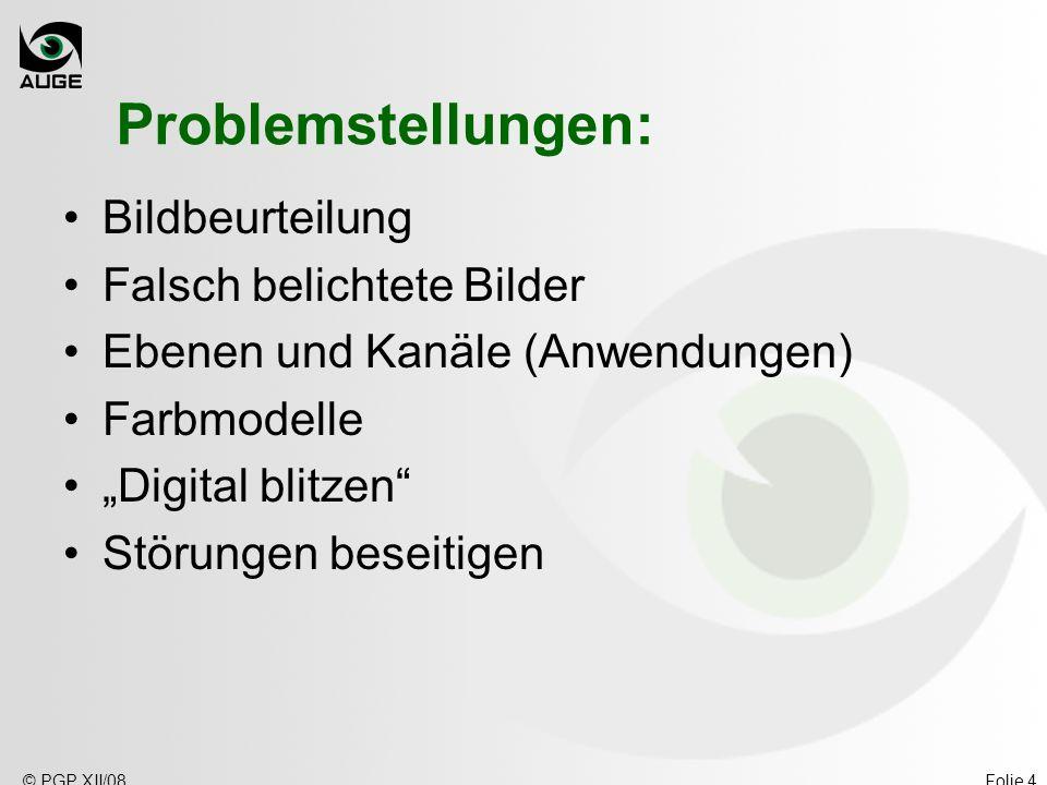 © PGP XII/08Folie 4 Problemstellungen: Bildbeurteilung Falsch belichtete Bilder Ebenen und Kanäle (Anwendungen) Farbmodelle Digital blitzen Störungen beseitigen