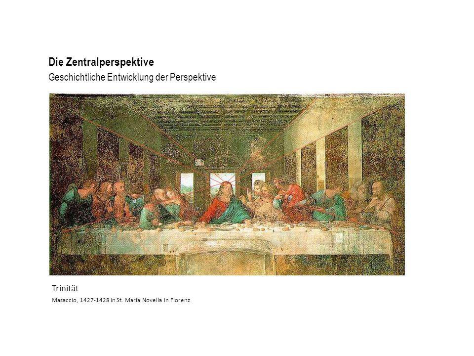 Geschichtliche Entwicklung der Perspektive Die Zentralperspektive Trinität Masaccio, 1427-1428 in St. Maria Novella in Florenz