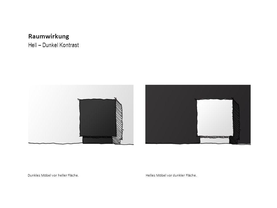 Hell – Dunkel Kontrast Raumwirkung Dunkles Möbel vor heller Fläche.Helles Möbel vor dunkler Fläche.