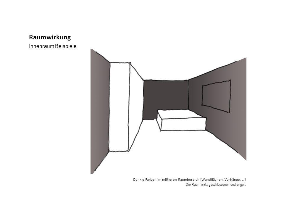 Innenraum Beispiele Raumwirkung Dunkle Farben im mittleren Raumbereich [Wandflächen, Vorhänge, …] Der Raum wirkt geschlossener und enger.