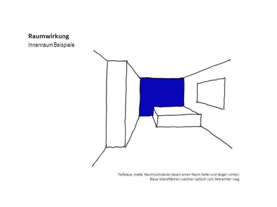 Innenraum Beispiele Raumwirkung Tiefblaue, matte Raumrückwände lassen einen Raum tiefer und länger wirken. Blaue Wandflächen weichen optisch vom Betra