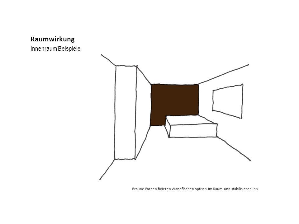 Innenraum Beispiele Raumwirkung Braune Farben fixieren Wandflächen optisch im Raum und stabilisieren ihn.