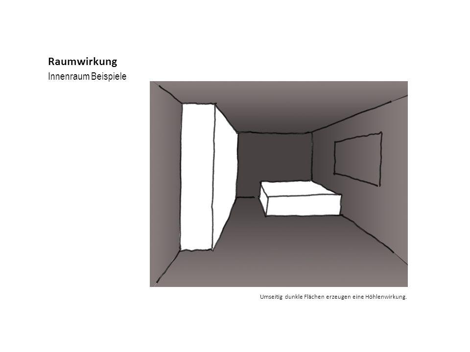 Innenraum Beispiele Raumwirkung Umseitig dunkle Flächen erzeugen eine Höhlenwirkung.