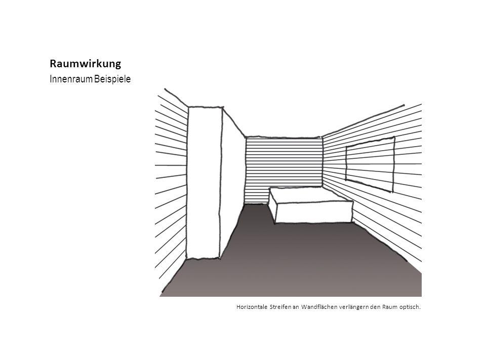 Innenraum Beispiele Raumwirkung Horizontale Streifen an Wandflächen verlängern den Raum optisch.