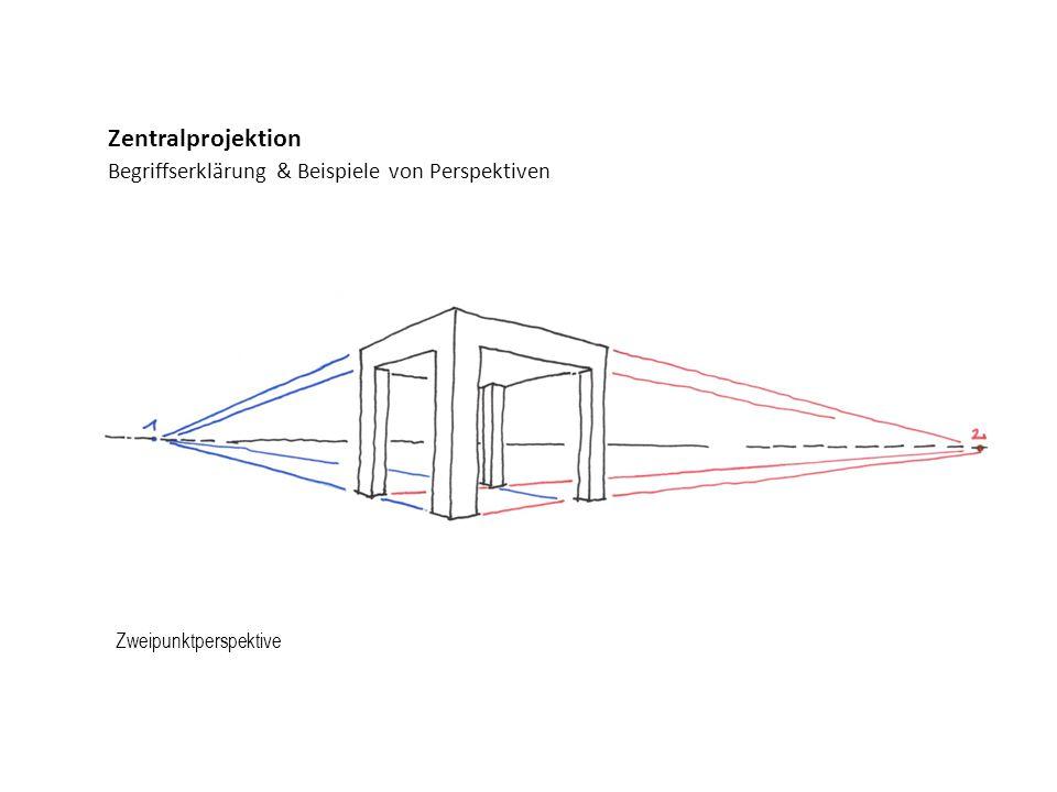 Begriffserklärung & Beispiele von Perspektiven Zentralprojektion Zweipunktperspektive