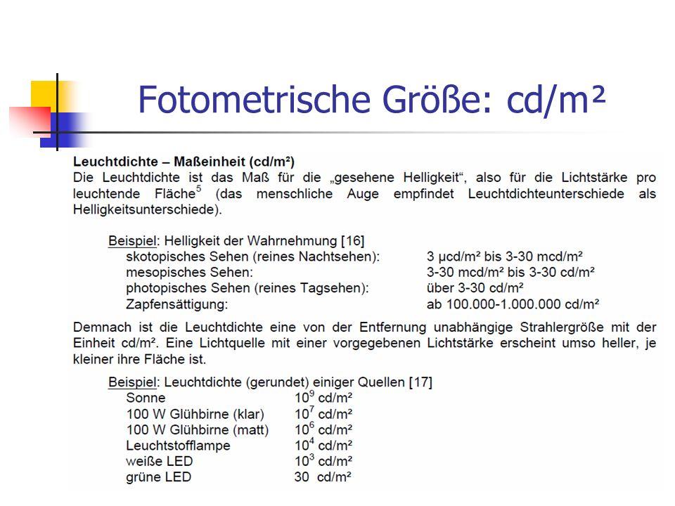 Fotometrische Größe: cd/m²
